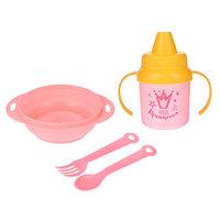 Набор детской посуды 'Наша принцесса', 4 предмета тарелка, поильник, ложка, вилка, от 5 мес.
