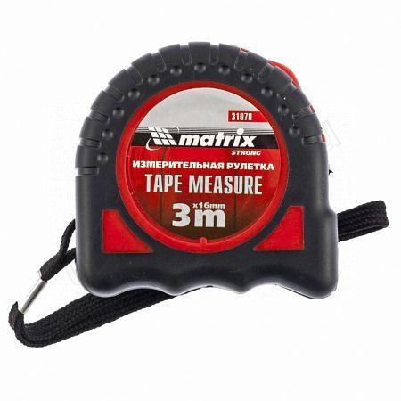 Рулетка 3м х16мм Tape Measure,обрезиненный корпус Матрикс 31078