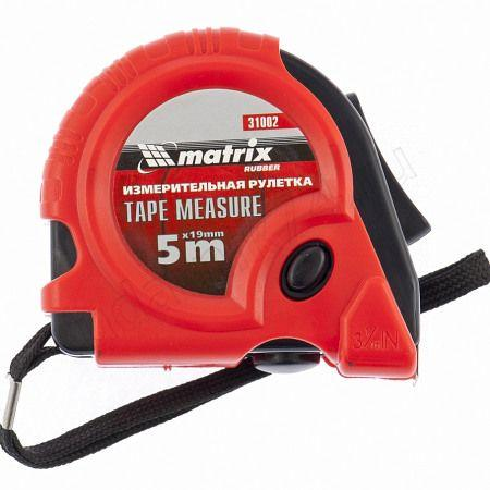 Рулетка 5м х19мм Rubber обрезиненный корпус Матрикс 31002