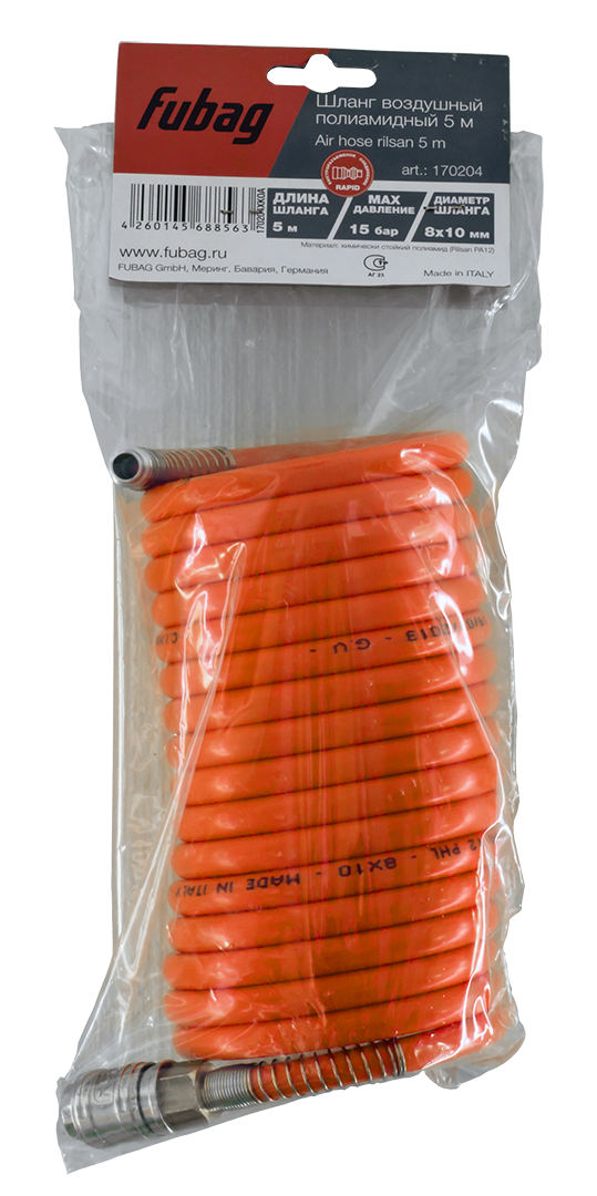 Шланг спиральный с фитингами Fubag  рапид химически стойкий полиамидный 15 бар 8 х10мм 5м арт.170204