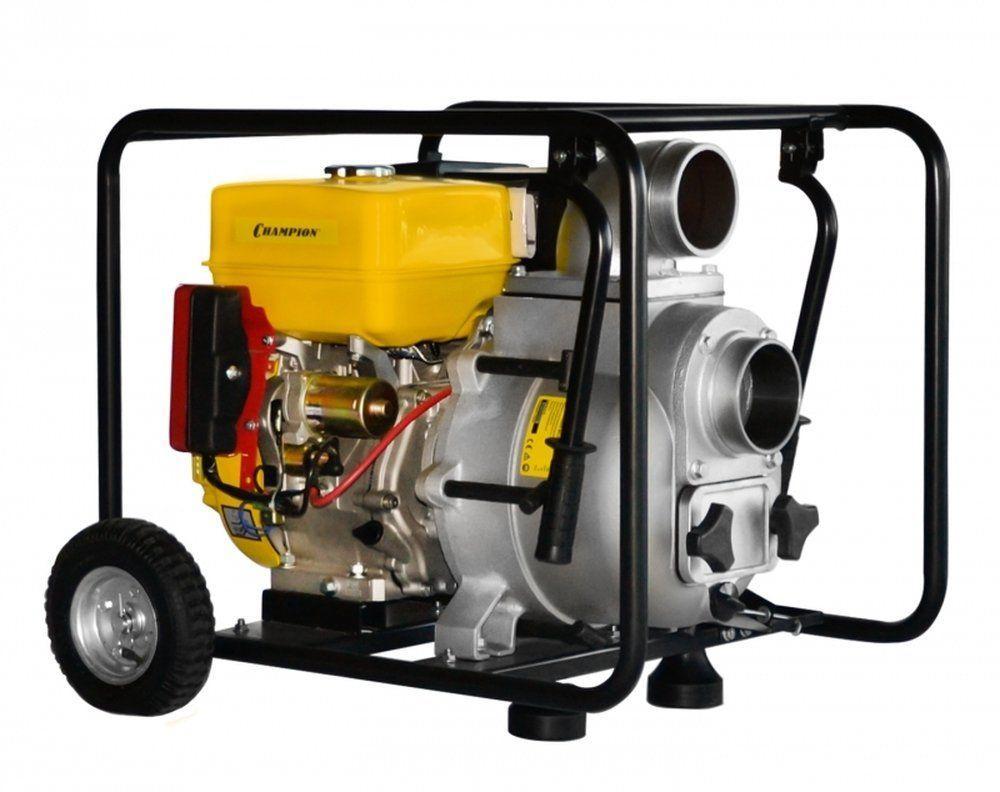 """Мотопомпа CHAMPION  GTP101E (4"""" грязная вода 1800л/мин 6/26м 13лс 6,5л 78,1кг, эл. стартер,колеса),"""