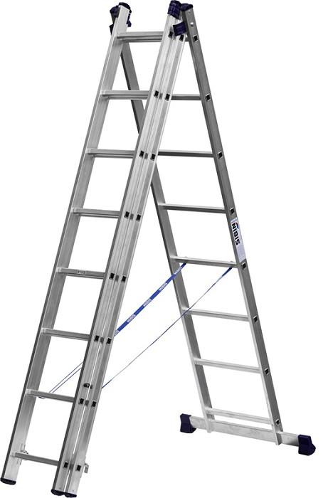 Лестница СИБИН универсальная, трехсекционная  со стабилизатором (Лестница СИБИН универсальная, трехсекционная со стабилизатором, 8 ступеней)