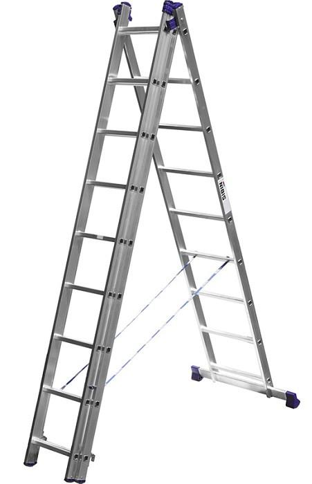 Лестница СИБИН универсальная, трехсекционная  со стабилизатором (Лестница СИБИН универсальная, трехсекционная со стабилизатором, 9 ступеней)