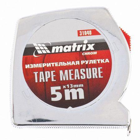 Рулетка 5м х13мм Tape Measure,пластиковый хром. корпус Матрикс 31040