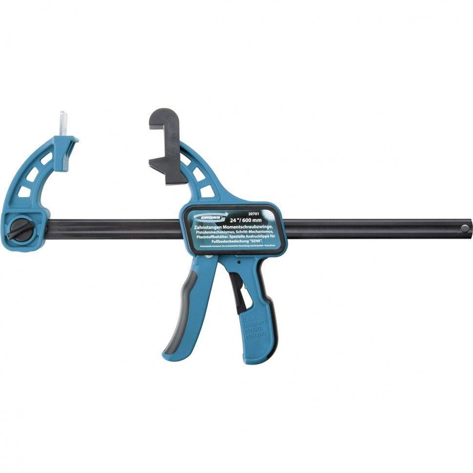 "Струбцина реечная быстрозажим.пистолетного типа,пошаг.мех.пласт.корп.24""(600мм) GROSS 20701"