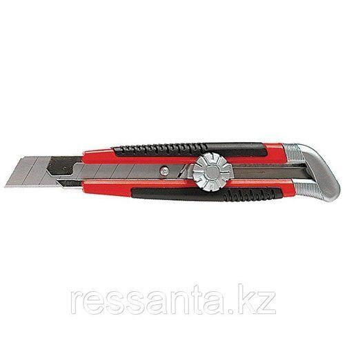 Нож 18мм выдвижное лезвие,метал.направляющая,винтовой фиксатор (серебро)
