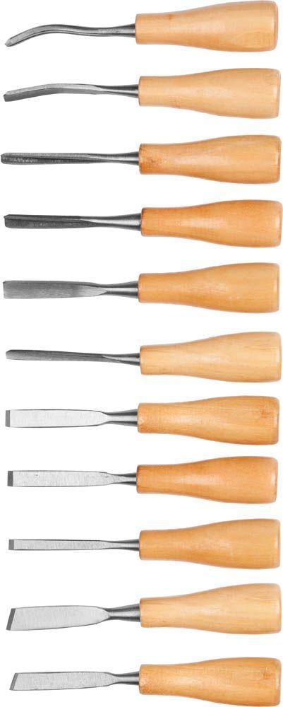 """Набор фигурных стамесок DEXX """"МИНИ""""с деревянной ручкой 11шт 1834-H11"""