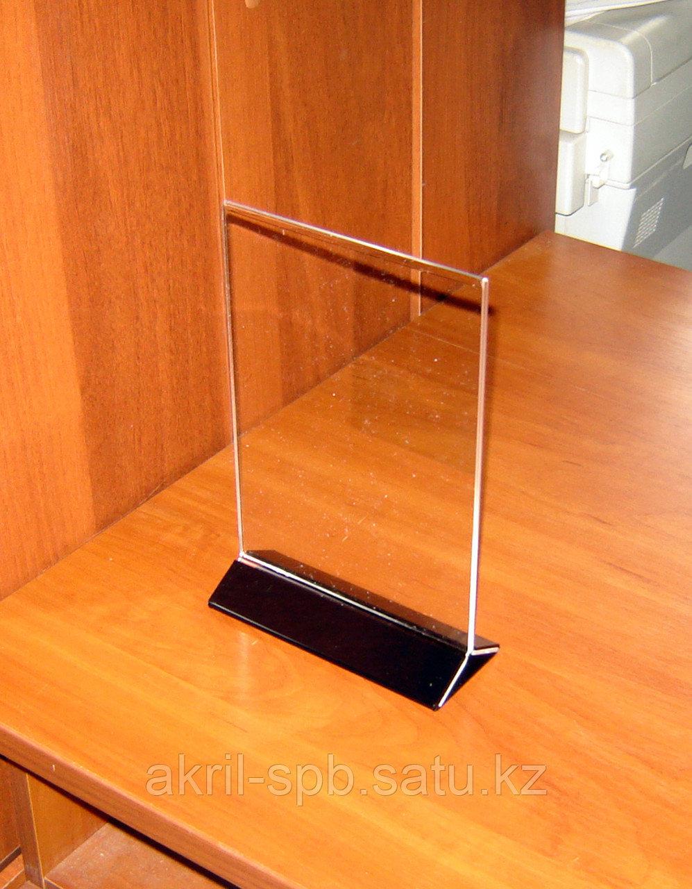 Менюхолдер тейбл тент А5 вертикальный с черным основанием 2мм черный полистирол