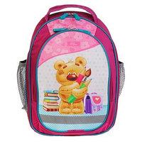 Рюкзак школьный с эргономичной спинкой, Calligrata, 37 х 27 х 16, 'Мишка', розовый
