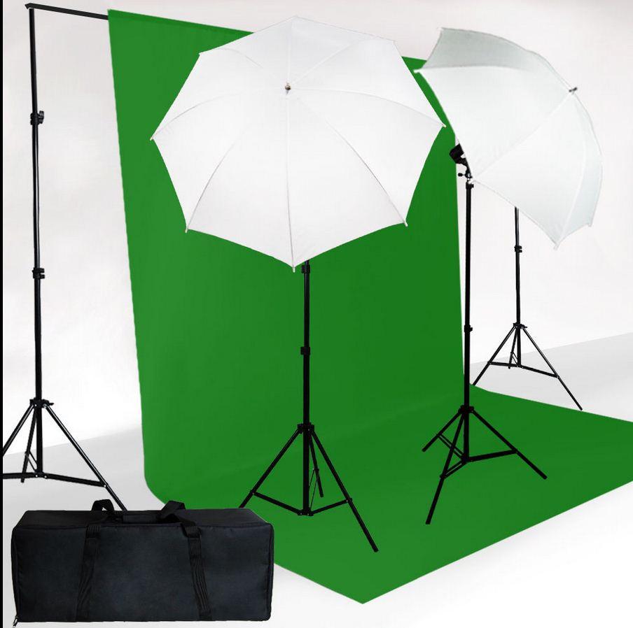 Студийный комплект из 2-х зонтов на просвет на стойках с лампой E27+ ФОН НА СТОЙКАХ