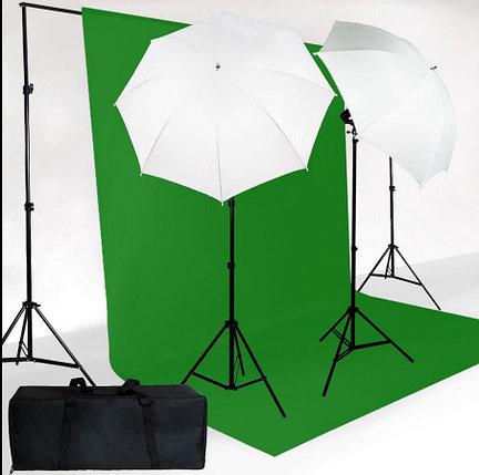Студийный комплект из 2-х зонтов на просвет на стойках с лампой E27+ ФОН НА СТОЙКАХ, фото 2