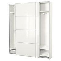 Гардероб ПАКС белый, Фэрвик белое стекло ИКЕА, IKEA, фото 1