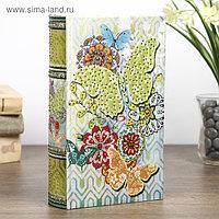 "Шкатулка-книга дерево ""Красочные бабочки"" шёлк, стразы 21х13х5 см"