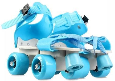 Ролики квады 4-х колесные раздвижные голубые - фото 2