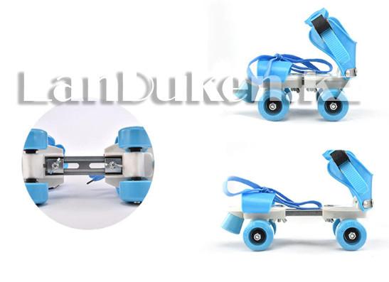 Ролики квады 4-х колесные раздвижные голубые - фото 3