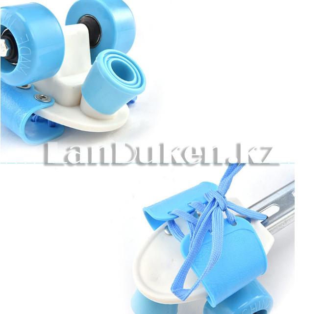 Ролики квады 4-х колесные раздвижные голубые - фото 4
