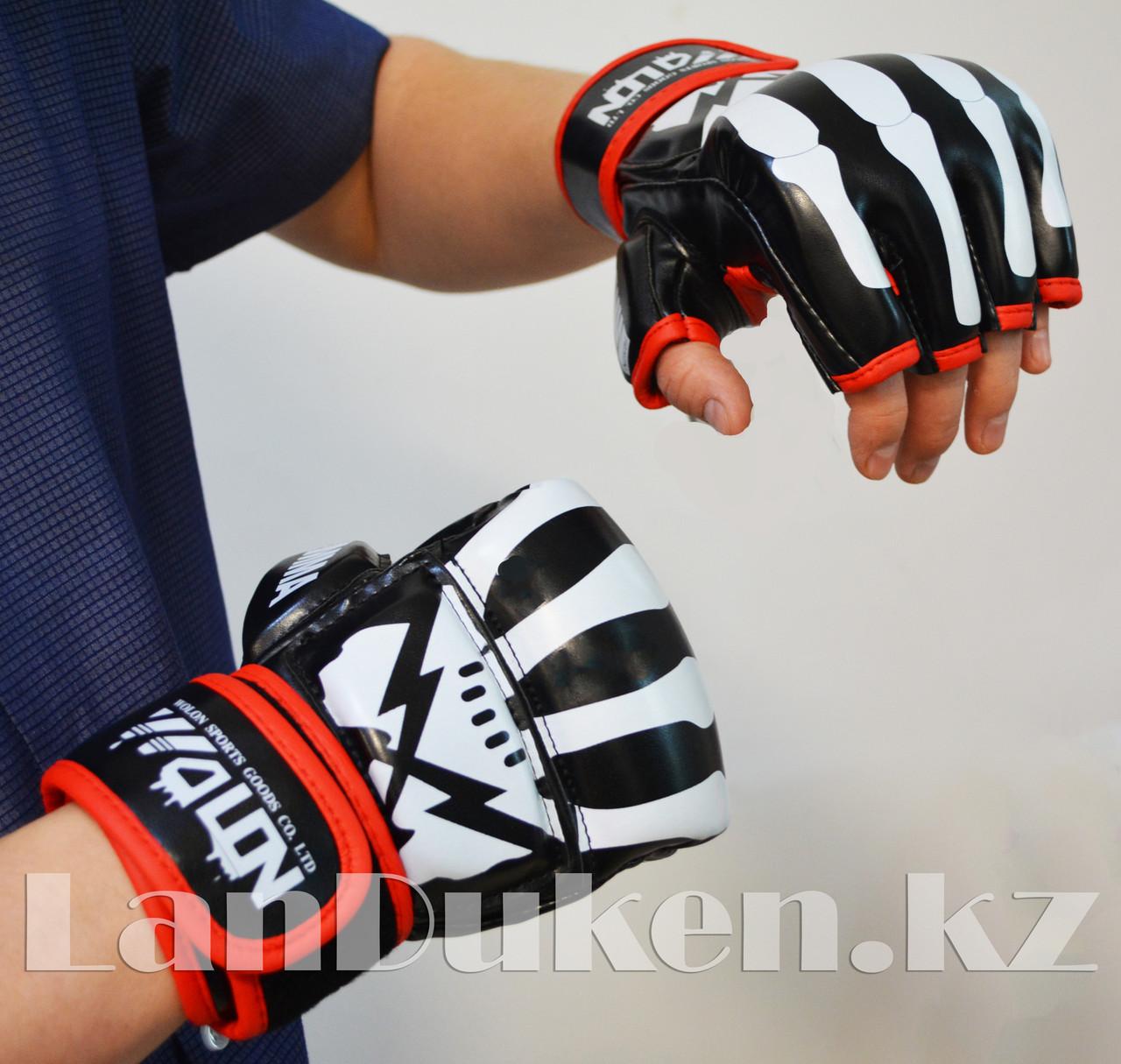 Перчатки MMA (шингарты) WOLON скелет 10 OZ (черные)