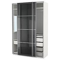 Гардероб ПАКС белый Уггдаль серое стекло ИКЕА, IKEA, фото 1