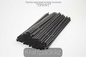 Трубочки для коктейля 5*240 черные с гофрой (500/5000) (Тонкие)