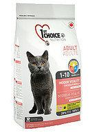 1st Choice Indoor Vitality (Фест Чойс) корм для взрослых домашних кошек с курицей,  2,72 кг
