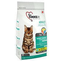 1st CHOICE «Контроль Веса» с курицей  для взрослых кастрированных котов и стерилизованных кошек, 5,44 кг.