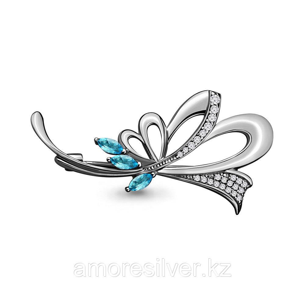 Брошь Аквамарин серебро с родием, фианит топаз, флора 7151005А