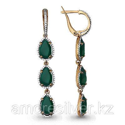 Серьги из серебра с агатом зеленым и фианитом   Аквамарин 4428909А#