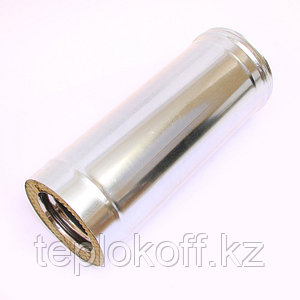 Дымоход двустенный, по воде L=500, D=115/200, AISI 430/ОЦ, 0,8/0,5 мм (Феррум)