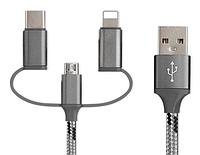 USB кабель для телефона 3 в 1 Type-C + micro usb + lightning
