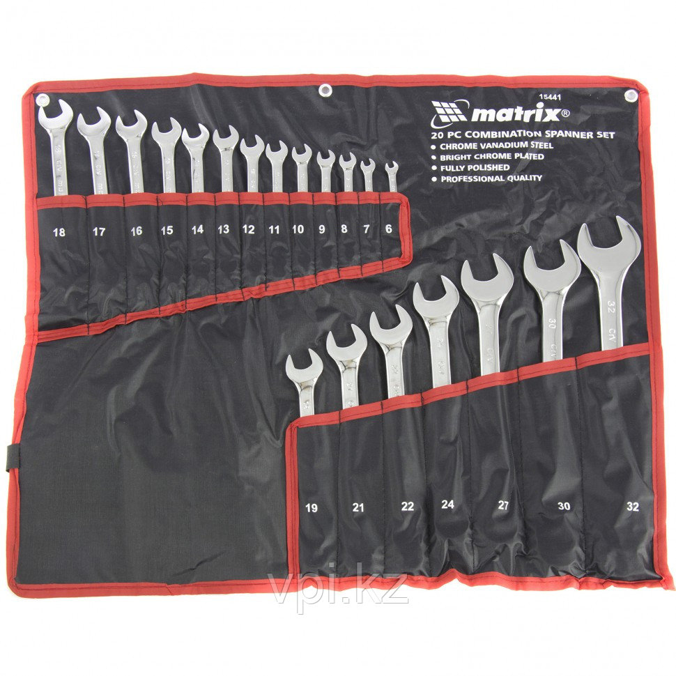 Набор рожково-накидных ключей, полированный хром, 6-32мм, 20шт. Matrix