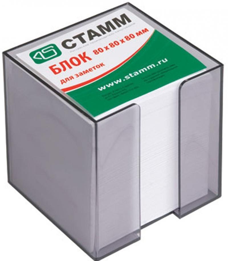 Блок для записей СТАММ белый в подставке 8х8х8 см