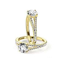 Золотое кольцо c центральным бриллиантом от 0.70Ct, фото 1