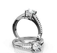Золотое кольцо c центральным бриллиантом от 0,70Ct Огранка Принцесса, Ашер, Кушон, фото 1