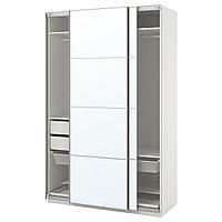 Гардероб ПАКС белый, Аули зеркальное стекло ИКЕА, IKEA, фото 1