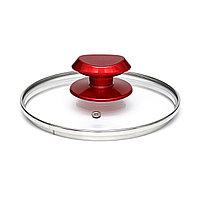 Легкая и шикарная крышка «PROCHEF» из закаленного стекла 16 см. С красной ручкой.