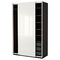 Гардероб ПАКС черно-коричневый Хасвик глянцевый/белый ИКЕА, IKEA, фото 1
