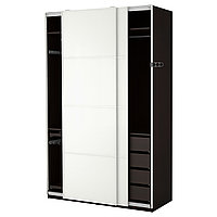 Гардероб ПАКС черно-коричневый Фэрвик белое стекло ИКЕА, IKEA, фото 1