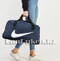 Сумка спортивная дорожная с боковым карманом и с плечевыми ремнями синяя с значком