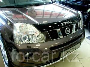 Дефлектор капота SIM  Nissan X-Trail (Ниссан Икстрейл) (2007--2014) (темный) с логотипом, фото 2