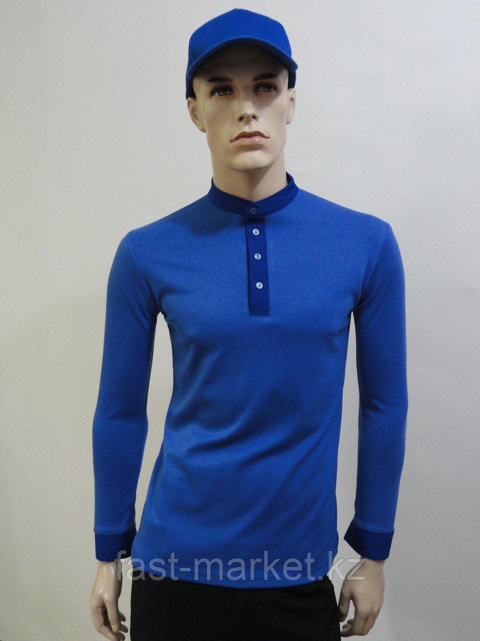 Рубашка-поло синяя с длинным рукавом