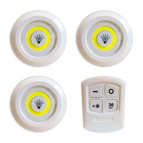 Комплект LED светильников с пультом д/у и таймером LED light with Remote Control Set (3 светильника) - фото 3
