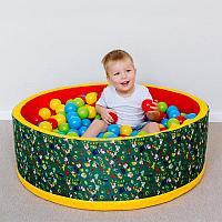 Сухой бассейн «Веселая поляна» + 100 шариков (зеленый), фото 1