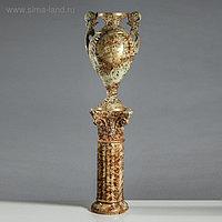 """Ваза напольная """"Амфора"""" на колонне, под малахит, коричневая, 152 см, керамика"""