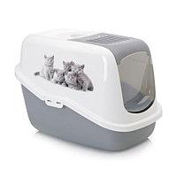 Био-Туалет для кошек Savic Nestor Impression с фильтром и рисунком  (бело-серый)