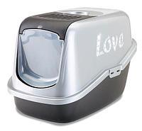 Био-Туалет для кошек Savic Nestor Impression Love с фильтром и рисунком  (серо-черный)