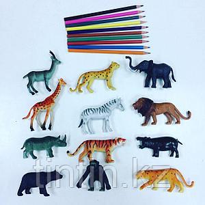 Набор из 12 резиновых диких животных