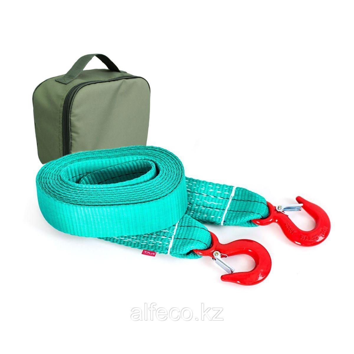 Буксировочный ремень Tplus 6/9 т 6 м (авто до 3 т) Крюк/Крюк + сумка