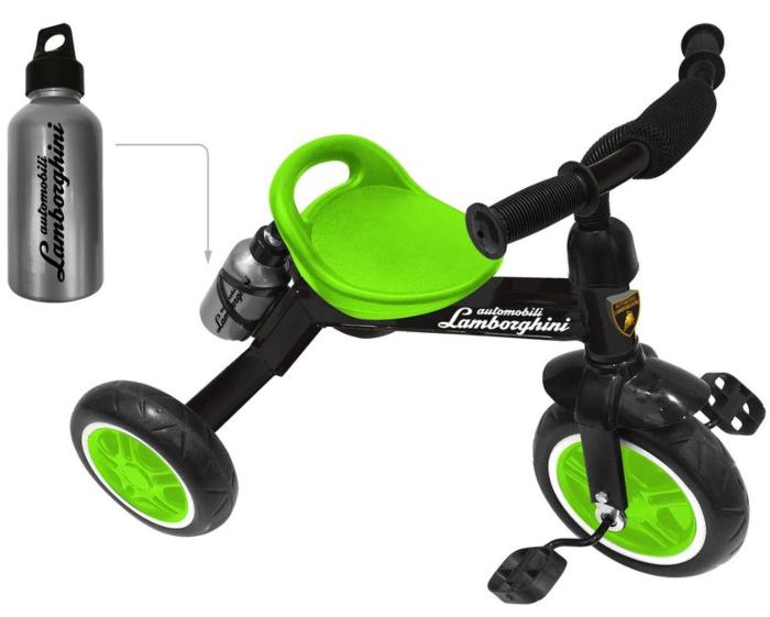 Lamborghini: Велосипед 3-колесный, пласт. кол., бутылочка в комп-те, зеленый