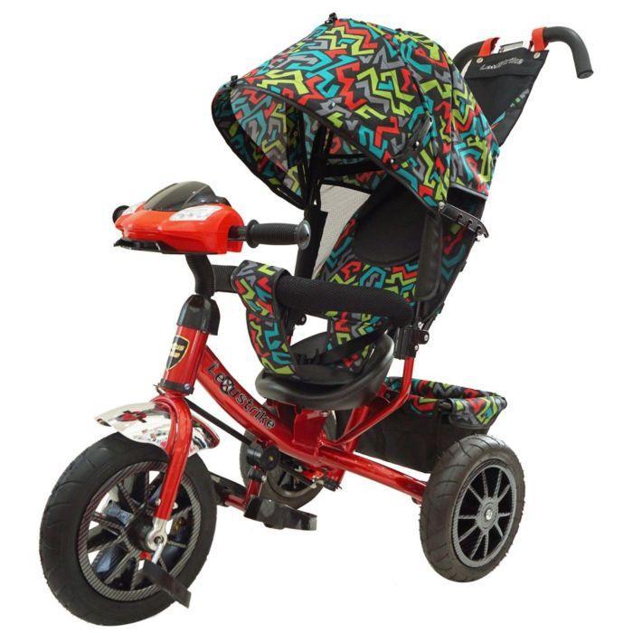 LEXUS TRIKE: Велосипед 3-х колес., с ручкой и со свет., муз., панелью, красный