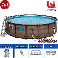 Круглый каркасный бассейн Rattan Power Steel Svim Vista Series, Bestway 56725, размер 488х122 см,, фото 1